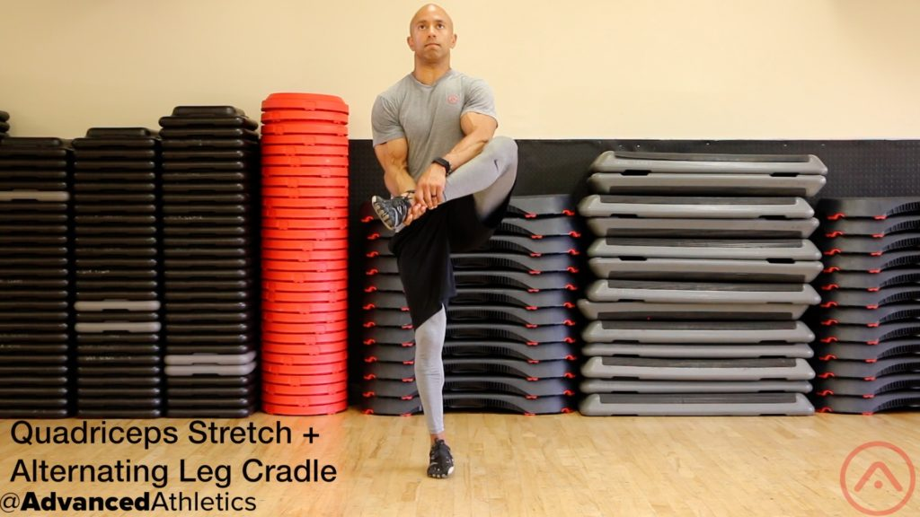 Adam Friedman Advanced Athletics Quad Stretch Alternating Leg Cradle Mobility Self-Care