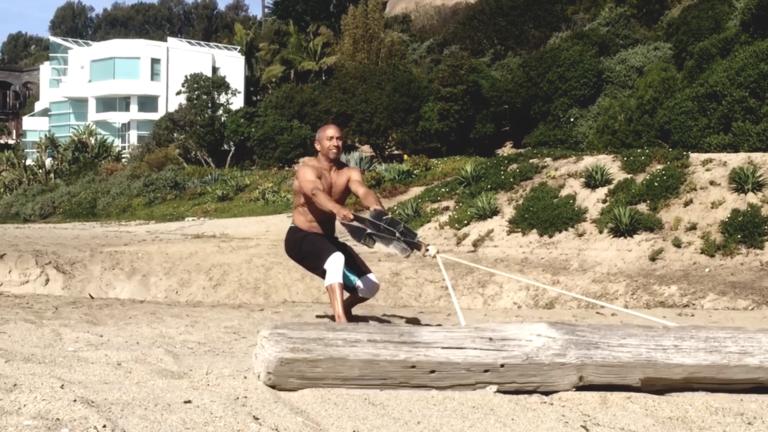 Adam Friedman Advanced Athletics Strength Training Beach Workout Log Pull